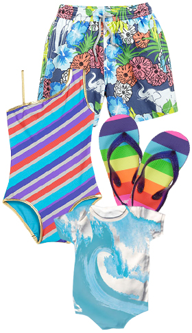 Vilebrequin Toddler's & Little Boy's Elephant Swim Trunks, Little Marc Jacobs Girl's Merida Striped One-Piece Swimsuit, Carters Toddler Girls Rainbow Back Strap Flip Flops Wave and Stars Organic Baby Onesie.