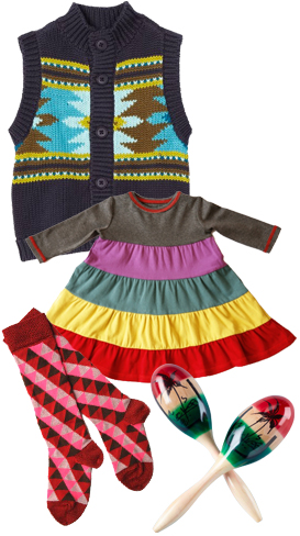 Tea Collection Alegre Aztec Sweater Vest, Lost & Found Eye Spy Infant Dress, Sweet William Fiesta Socks, Maracas