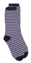 MeMoi Luxe Cashmere Striped Crew Sock