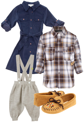 Busy Bees Campshirt Dress, Timberland Boys Free Climb Woven Shirt, Nui Organics Knickerbockers, Minnetonka Kids Beaded Moccasin
