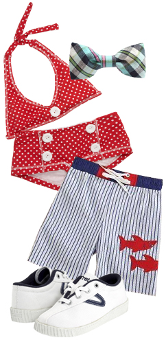Baby By Stevie Kids Bow Tie, Submarine Two-Piece Polka Dot Sailor Swim Suit, Florence Eiseman Toddler's & Little Boy's Shark Swim Trunks, Tretorn Kids Nylite Canvas Kids Shoes.