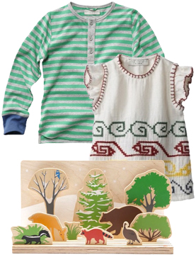 Stella Kids Ace Shirt, Stella Kids Buzby dress and bloomer, Deep into the Forest Playset.