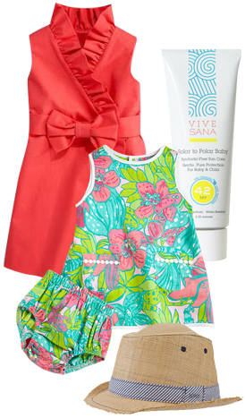 Milly Minis Mini Ruffle Wrap Dress, American Apparel Vive Sana Solar To Polar Baby, Lilly Pulitzer Kids Infant's Tropical Floral Print Dress & Bloomer Set, Levi's Kids Hat.