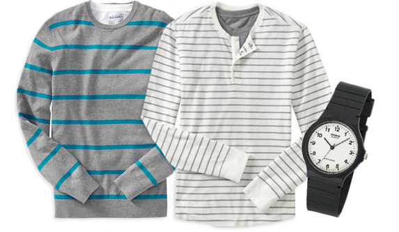 Old Navy Men's Rugbystripe & striped Sweaters, Casio Men's Watch