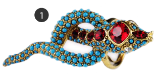 Kenneth Jay Lane Turquoise and Ruby Snake Ring
