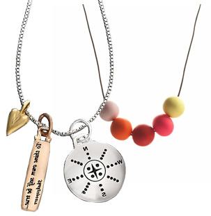 Sterling Silver Charm Necklace: $32.99 at macys.com; Ariel Gordon Gumball Necklace: $65.00 at Ariel Gordon.