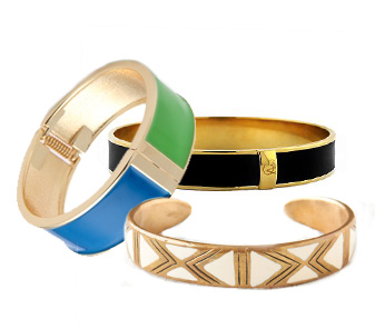 Adia Kibur Colorblock Hinge Cuff: $30.00 at shopbop.com; Vince Camuto Black Skinny Bangle: $38.00 at macys.com; Dream Collective Aurelia Cuff: $188.00 at Free People.