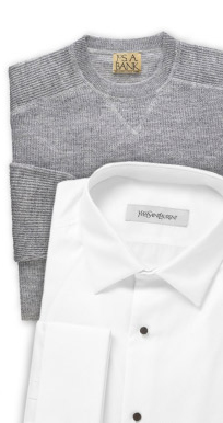 Jos. A Bank VIP Crewneck Sweater and YSL Pique Bib Cotton Tuxedo Shirt